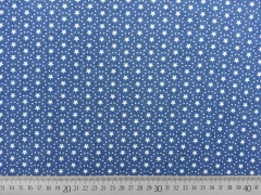 Stretchjeansstoff Sterne Punkte, weiß jeansblau