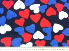 Fleece große Herzen, bunt auf dunkelblau