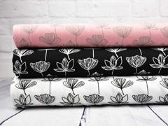 RESTSTÜCK 57 cm Viskose Seerosen Blumen schwarz