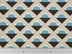 Dekostoff Geometrical Leinenlook, rauchblau