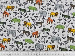 Baumwollstoff Tiere Safari Afrika, grau