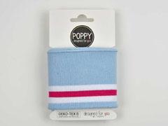 Fertigbündchen Streifen College Stil, weiß pink hellblau