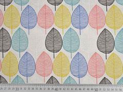 Canvas Stoff bunte Blätter, ecrue