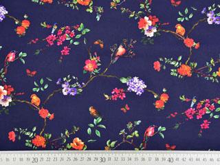 Baumwolle Blumen Vögel Digitaldruck, dunkelblau
