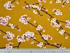 Modaljersey Kirschblüten Zweige, ocker