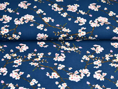Modaljersey Kirschblüten Zweige, dunkelblau