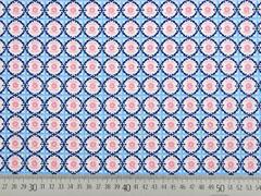 Baumwollstoff Blumen Ornamente, blau rosa weiß