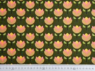 Canvas Tulpen, rosa beige dunkelgrün