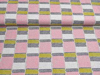 Canvas Stoff Farbblöcke kleine Halbkreise, rosa hellgrau
