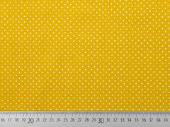 RESTSTÜCK 39 cm Baumwollstoff kleine Punkte Petite Dots, weiß ocker