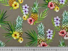 Canvas Stoff Ananas Digitaldruck, gelb taupe