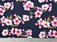 Jerseystoff Kirschblüten, rosa dunkelblau