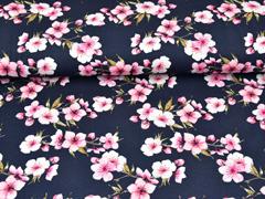 RESTSTÜCK 33 cm Jersey Kirschblüten, rosa graubraun