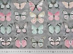 RESTSTÜCK 24 cm Canvas Stoff Schmetterlinge Digitaldruck, rosa grau