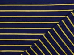 Sweat Stoff French Terry schmale Streifen, ocker navy
