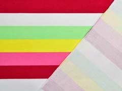 Sweat Stoff French Terry Streifen 2,4 cm, pink gelb grün