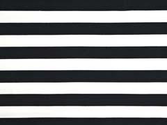 RESTSTÜCK 33 cm Sweat Stoff French Terry Streifen 2,4 cm, weiß schwarz