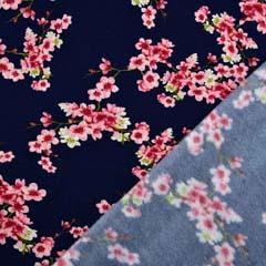 RESTSTÜCK 87 cm Soft Sweatstoff Kirschblüten Zweige, rosa dunkelblau