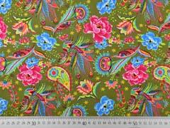 Baumwollstoff Blumen Paisley, pink türkis khaki