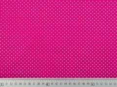 Baumwollstoff kleine Punkte Petite Dots, weiß dunkles pink
