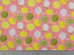 Baumwollstoff Zitronen Limetten, gelb grün lachsrosa