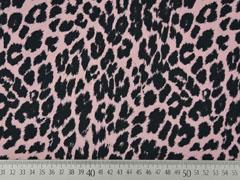 Wasserabweisender Polyester Stoff Leopard Animal Print, schwarz altrosa