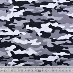 RESTSTÜCK 26 cm Baumwollstoff Camouflage, grau