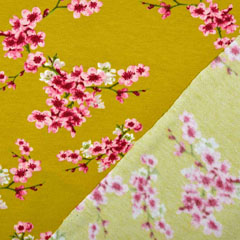 Soft Sweatstoff Kirschblüten Zweige, rosa senfgelb