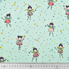 Jerseystoff Elfe Ballerina Zauberstab Sterne, mintgrün