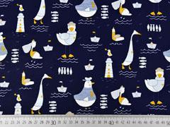 Baumwollstoff Möwen mit Mütze Papierschiffchen, dunkelblau