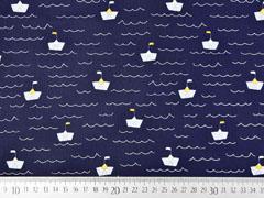 Baumwollstoff Papierschiffchen Wellen, dunkelblau