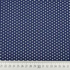 Baumwollstoff kleine Sterne beschichtet Mini Stars, weiß dunkelblau