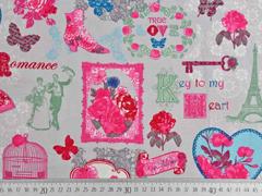 weicher Canvas Romance, pink hellgrau