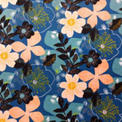 Sweatstoff Soft Sweat Blumen, aprikot mittelblau