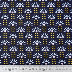 Baumwollstoff Blumen beschichtet, hellblau ockergelb dunkelblau