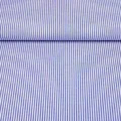 Baumwollstoff Streifen 3 mm garngefärbt, mittelblau weiss