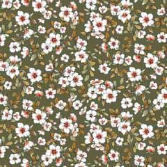 Modal Jerseystoff Blumen, weiß moosgrün