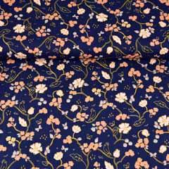 Bio-Baumwollstoff Blumen Ranken, aprikot dunkelblau