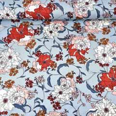 Viskose Twillstoff Blumen, ziegelrot weiß hellblau