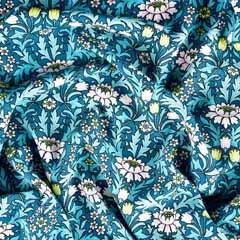 Viskose Stoff Blumen Tulpen Blätter, rosa limonengrün petrol