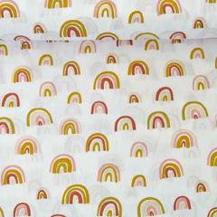 Baumwollstoff Regenbögen allover, altrosa weiß