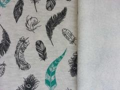 RESTSTÜCK 121 cm anger. Sweat Feathers Federn, grau-melange/türkis