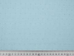 weicher Baumwollstoff Batist beflockt Punkte, hellblau