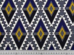 Canvas Aztec Ethnomuster Rauten, grau blau senfgelb