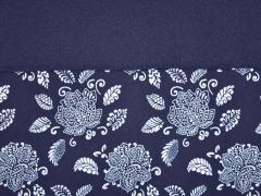 Softshell Stoff 3-schichtigBlüten & Blätter, dunkelblau