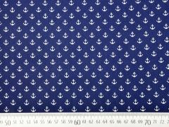 Baumwollstoff kleiner Anker, weiß dunkelblau