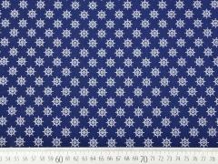 Baumwollstoff kleine Steuerräder, weiß dunkelblau