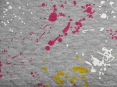 Steppjersey Farbkleckse, pink hellgrau meliert