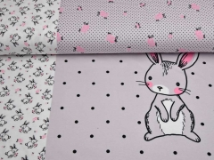 Jersey Hasen Bunny Love Panel 3 in 1, grau