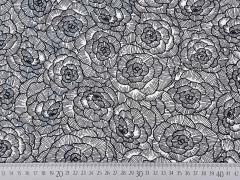 Leinen Viskose Blumen, schwarz